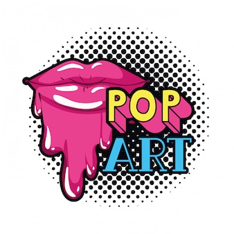 Female mouth dripping isolated icon
