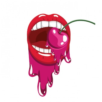 Female mouth dripping with cherry fruit
