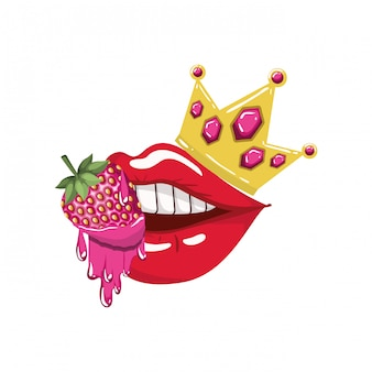 Female mouth dripping with strawberry fruit