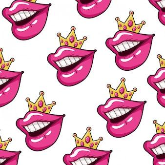 Female mouth pop art style pattern