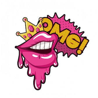 Female mouth with speech bubble isolated icon