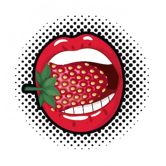 Female mouth with strawberry isolated icon