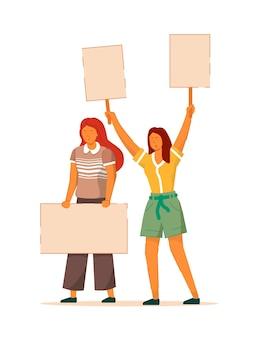 女性の動き。 2人の女性のエンパワーメント、フェミニストのデモ。女性の政治的権利に抗議する。白い背景の空のプラカードイラストで印象的な女の子の群衆