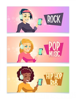 Female music lower cartoon  banner set with brunette