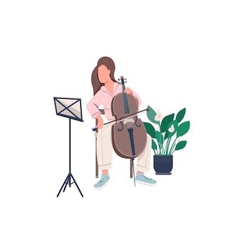 Женский музыкант плоский цвет безликий персонаж