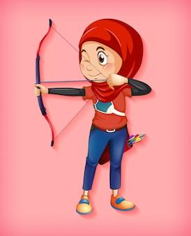 女性のイスラム教の射手のキャラクター