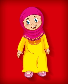 Female muslim cartoon character colour gradient background
