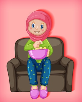 Female muslim cartoon eating popcorns sitting on sofa