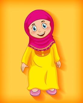 Женский мусульманский мультфильм на цветном фоне градиента персонажа