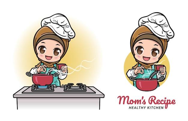 부엌에서 요리하는 여성 이슬람 요리사