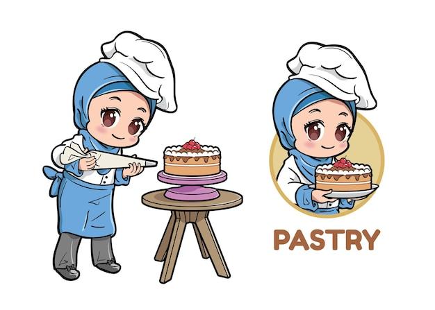 ケーキを飾る女性のイスラム教徒のパティシエ
