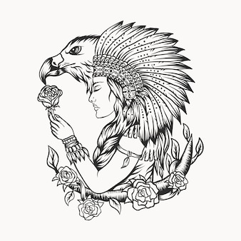 Female native american eagle vector illustration