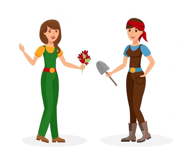 Female neighbours dialog flat vector illustration