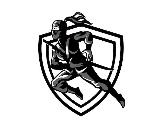 Female ninja silhouette cartoon logo mascot