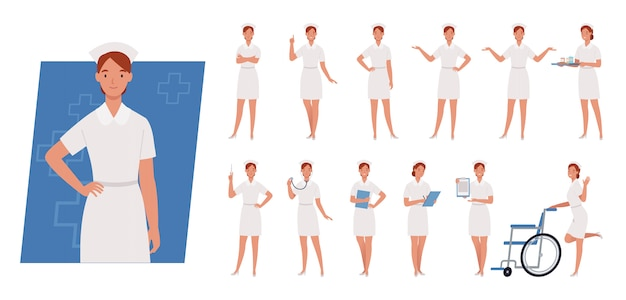 Female nurse character set. nurse in white uniform. different poses and emotions.