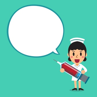 Female nurse character with white speech bubble