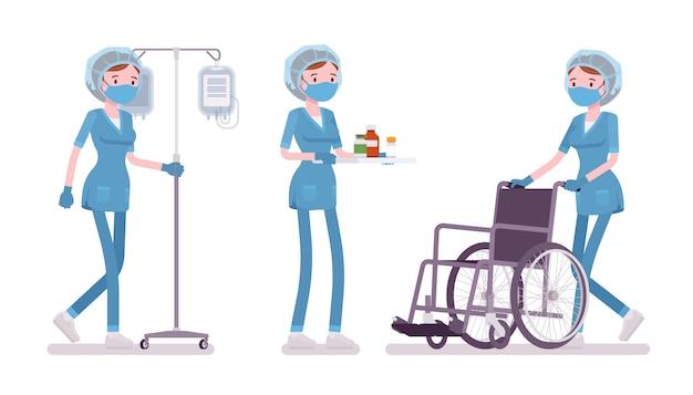 医療処置を行う女性看護師