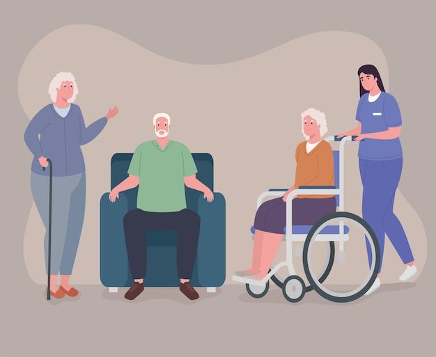Female nurse and geriatrics persons