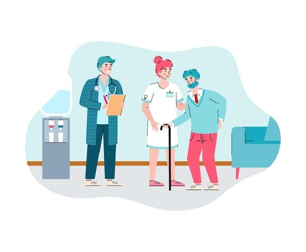 Female nurse help elderly male in nursing home a vector flat illustration