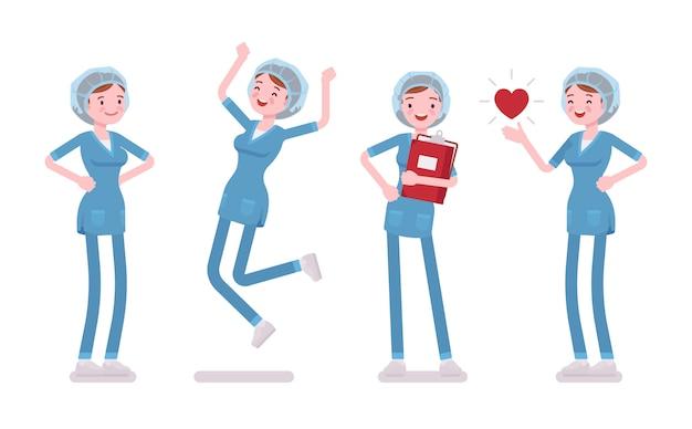 肯定的な感情の女性看護師。仕事で幸せな病院の制服の若い女性は、キャリアをお楽しみください。医学とヘルスケアの概念。白い背景の上のスタイル漫画イラスト