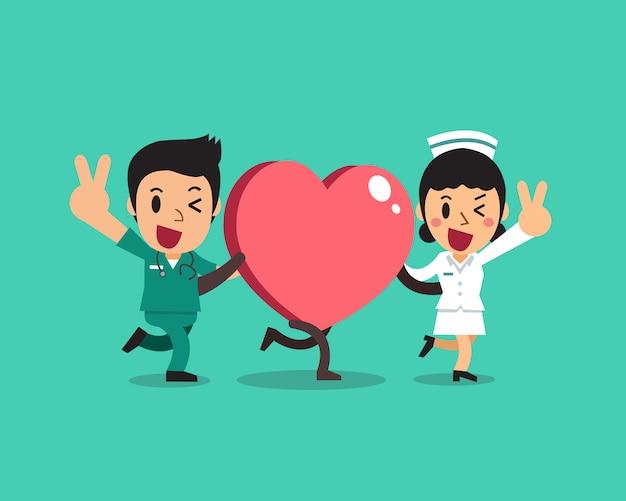Female nurse and male nurse with big heart sign