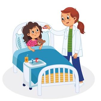 デジタル温度計を使用して病院のベッドで若い女児の体温を測定する女性看護師