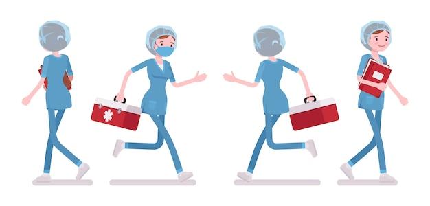 歩いている女性看護師。仕事で忙しいクリニックで採用されている病院の制服を着た若い女性。医学、ヘルスケアの概念。白い背景、フロント、リアのスタイル漫画イラスト