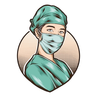 Женщина медсестра носить медицинскую форму вектор