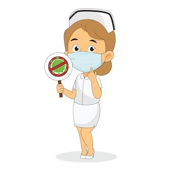 アンチウイルスで保護を身に着けている女性看護師