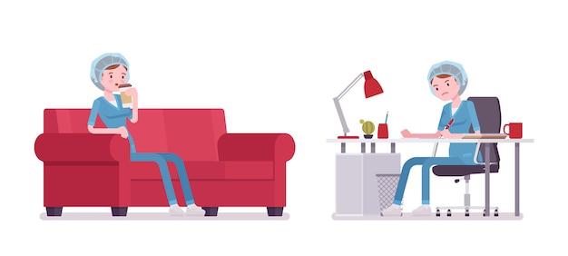 作業と休憩の女性看護師。病院の制服を着た机とソファの上で勤務後の若い女性。医学とヘルスケアの概念。白い背景の上のスタイル漫画イラスト