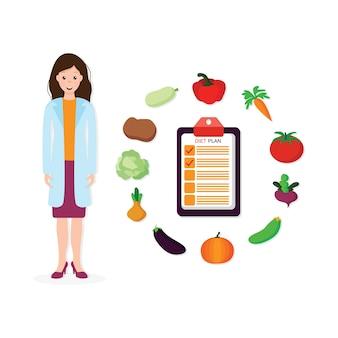 栄養スケジュールを処方する女性の栄養士は、白い背景の上の漫画のキャラクターを分離しました