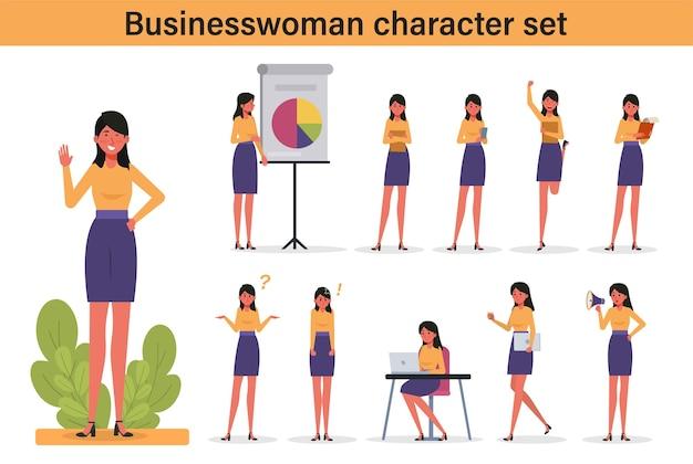 ビジネスプレゼンテーションのためのさまざまなポーズと手のジェスチャーで立っている女性サラリーマン