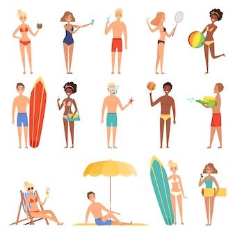 Девушки на пляже. летние каникулы или праздники люди играют и загорают сидя на шезлонгах жарких солнечных персонажей