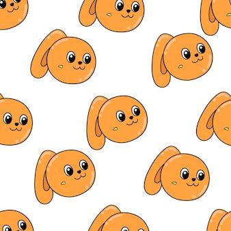 여성 오렌지 토끼 원활한 패턴 섬유 인쇄입니다. 여름 빈티지 패브릭, 스크랩북, 벽지, 선물 포장에 좋습니다. 반복 패턴 배경 디자인