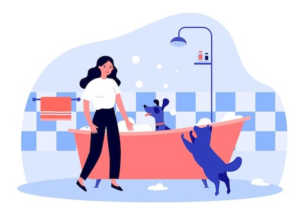 浴槽で犬を洗う女性の所有者。泡の浴槽フラットベクトルイラストに座っている家畜を入浴する女性。ペット、衛生、バナーのグルーミングコンセプト、ウェブサイトのデザインまたはランディングウェブページ