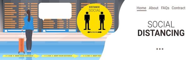 コロナウイルス社会距離拡大コンセプト空港ターミナル内部水平コピースペースを防ぐために距離を保つ荷物を持つ女性の乗客