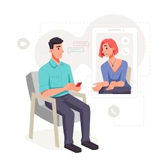 여성 환자는 심리학자 온라인 비디오 음성 통화 벡터 상담과 통신합니다.