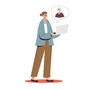 ノートパソコンとビデオ会議でオンラインで心理学者と相談している女性患者。オンライン心理学者の相談、サポート、ヘルプのコンセプト。