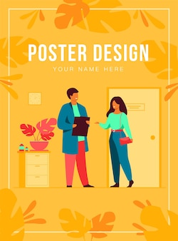Female patient in doctor office poster template