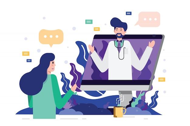 Женский пациент встречи с профессиональным доктором онлайн на рабочем столе компьютера.