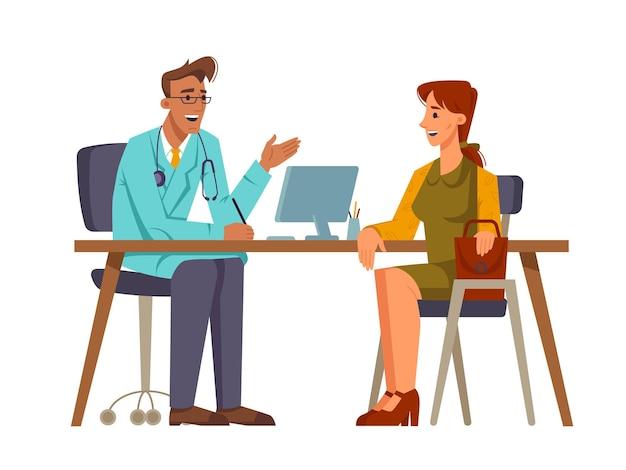 Пациентка разговаривает с врачом в офисе вектор