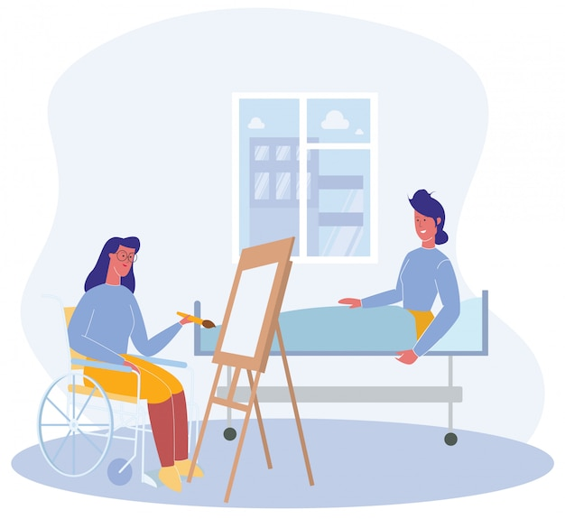 Female patient in wheelchair draw portrait woman