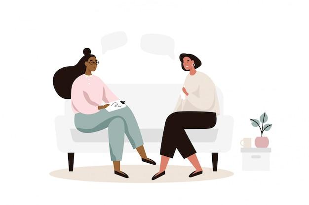 Женский пациент с психологом или психотерапевтом, сидя на диване. сеанс психотерапии. психическое здоровье, депрессия. плоская иллюстрация.