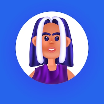 Лицо женского пола голова в круглой рамке милая женщина аватар мультипликационный персонаж портрет векторная иллюстрация