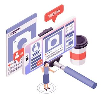 Женщина, записывающая видеоблог с помощью мобильного телефона и селфи-палки, изометрическая иллюстрация