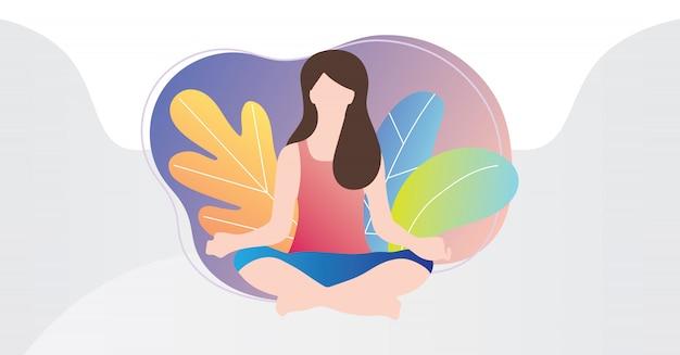 Женский человек, сидящий в позиции лотоса йоги