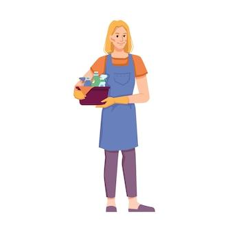 홈 오피스 또는 호텔 방을 정리하는 청소 서비스의 여성 인물 격리 된 청소기 직원