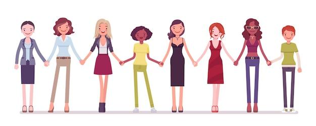 함께 손을 잡고 서있는 여성 명