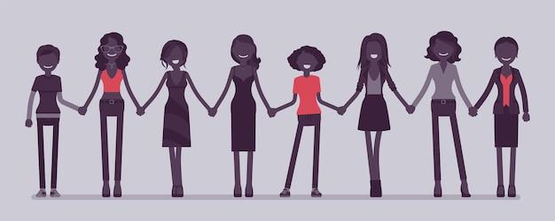손을 잡고 함께 서 있는 여성 사람