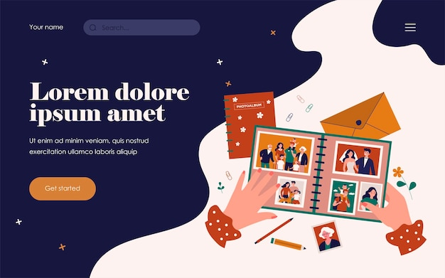 Female photographer hands holding family photo album flat vector illustration. cartoon characters on retro photography. happy memory and lifestyle concept